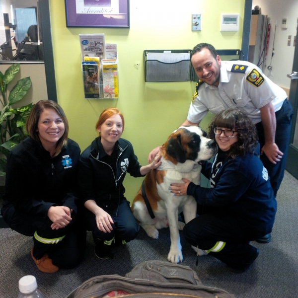 MTCC is visited by one of Prairie Mountain Health's therapy dogs